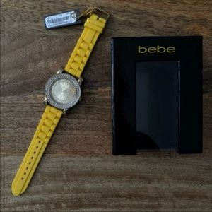 Bebe Rhinestone Logo watch - yellow/gold